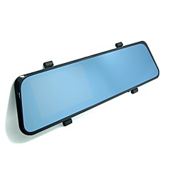 "1920 x 1080P FULLHD Rearview Mirror Dual Lens Car DVR 4.3"" LCD Blue Glass with 2 Cameras,G-Sensor, Motion Detection"