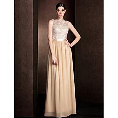 Lanting Bride® Floor-length Lace / Georgette Mini Me Bridesmaid Dress - Sheath / Column Bateau Plus Size / Petite withLace / Sash /