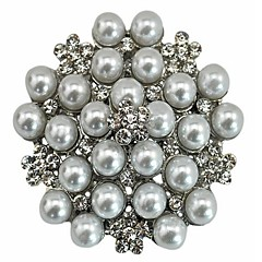 Rhinestone Crystal Wedding Bridal Bouquet Golden Flower Pearl Brooch