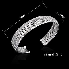 Fashion Sterling Silver Plated Cut Out Bangle Women's Bracelet
