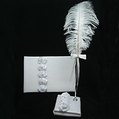 White Satin Rose Guest Book And Pen Set With Feather Sign In Book