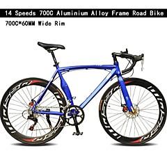 Rennräder Radsport 14 Drehzahl 60mm Unisex SHIMANO TX-30 Doppelte Scheibenbremsen Ordinär Monocoque - Rahmen gewöhnlichAluminiumlegierung