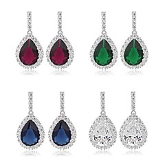 New Fashion 18K White Gold Plated Cubic Zircon Drop Earrings Elegant Water-Drop CZ Crystal Earring (More Colors)