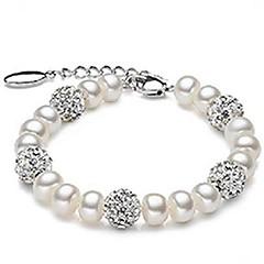 moda pulseira de pérolas natrural com bola de cristal diamante