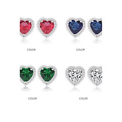 로맨틱 한 심장 모양 크리스탈 스터드 귀걸이 마이크로 작은 CZ 돌 귀걸이 (더 많은 색상)를 포장