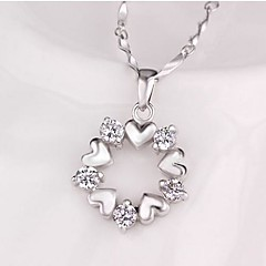 Round Sterling Silver CZ Heart Necklace