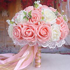 een boeket van 30 pe simulatie rozen bruiloft boeket bruiloft bruid bedrijf bloemen, roze en wit