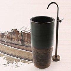 Antik Gulv Monteret Gulvstående with  Keramik Ventil Enkelt håndtag Et Hul for  Antik Messing , Badekarshaner