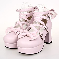 Lolita Shoes Sweet Lolita Lace-up High Heel Shoes Bowknot 7.5 CM Pink For Women PU Leather/Polyurethane Leather