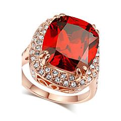 טבעות קריסטל / חיקוי רובי / חיקוי יהלום אבני מזלות תכשיטים טבעות הצהרה