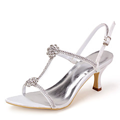 Women's Shoes Open Toe Stiletto Heel Satin Sandals with Rhinestone Wedding Shoes More Colors available