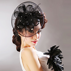 Women Feather/Tulle/Net Flowers/Hats With Wedding/Party Headpiece Red/Black