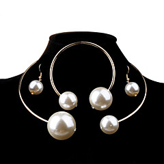 Women's Jewelry Set Fashion Elegant Bridal Oversized Costume Jewelry Pearl Imitation Pearl Alloy Ball Earrings Necklace Bracelet For