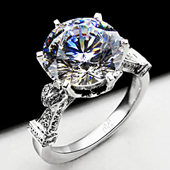 Stunning Promise Solid Silver 4CT 10mm SONA Simulate Diamond Women Wedding Ring Engagement Fine Jewelry Platinum Plated