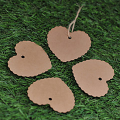 Kraft Paper  Labels (Set of 50)----Pattern Heart without Ribbon