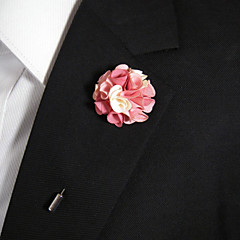Men's Casual Pink And White Silk Goods Brooch