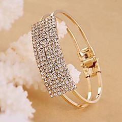 Women's Fashion Simple Square Alloy Tennis With Rhinestone Bracelet