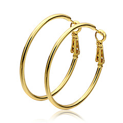Halka Küpeler Altın Circle Shape Altın Mücevher Için 2pcs