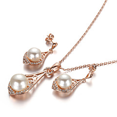 HKTC Noble Bridal Jewelry 18k Rose Gold Plated Crystal Simulated Pearl Waterdrop Earrings and Necklace Set