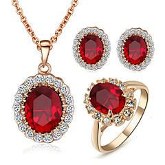 Conjunto de Jóias Cristal Imitação de Diamante Pedras dos signos Cristal Zircônia Cubica imitação de diamante Liga VermelhoColares