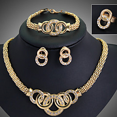 Takı Seti Kadın's Yıldönümü / Düğün / Nişan / Doğumgünü / Hediye / Parti / Günlük / Özel Anlar Mücevher Setleri alaşım Yapay Elmas