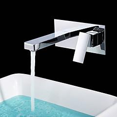 Zeitgenössisch Wandmontage Keramisches Ventil Einzigen Handgriff Zwei Löcher with Chrom Waschbecken Wasserhahn