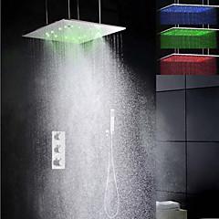 porlasztó és csapadék fürdőszoba zuhany csaptelep szett, 20 hüvelykes szuper nagy vezettek 3 szín hőmérséklet érzékeny zuhanyrózsa