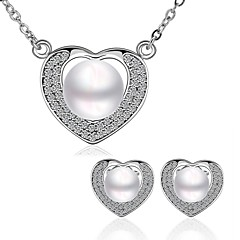 Platinum Plated diamond Water drop colorful pearls jewelry set for women party necklace/earring Bridal Jewelry Sets S065