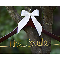 Personalized Wedding Dress Hanger, Custom Wire Bridal Name Hanger with Cherry Hanger White Bow and Wire in Gold Color