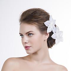 Mulheres Organza Capacete-Casamento / Ocasião Especial Flores 2 Peças Branco Redonde