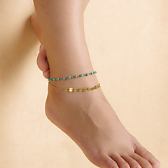 Fashion Women Summer Turquoise Beaded Sequins Double Chain Anklets