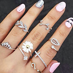 Midi Rings Rhinestone Simulated Diamond Alloy Flower Leaf Fashion Gold Silver Jewelry Party 1set 3pcs