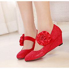 Women's Shoes Taffeta Wedge Heel Wedges/Closed Toe Pumps/Heels Wedding Red