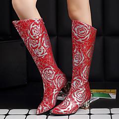 נעלי נשים - מגפיים - דמוי עור - שפיץ / מגפי אופנה - שחור / אדום / לבן - חתונה / שטח / מסיבה וערב - עקב עבה