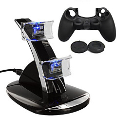 Dual USB With Blue LED Charging Dock Station Stand + Silicone case for PS4 Controller