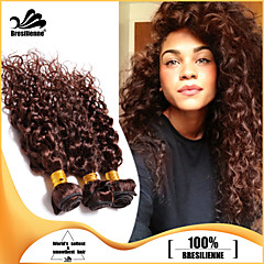 3PCS 브라질 머리 번들은 초콜릿 갈색 깊은 곱슬 머리 씨실 100 % 처리되지 않은 브라질 인간의 머리 씨실을 엮어 냈다