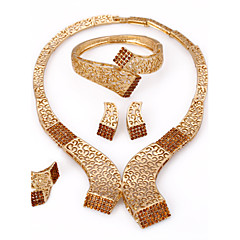 WesternRain Brown Rhinestone Charm Necklace Gold Plated Jewelry Set for The bride wedding accessories