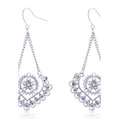 European Style Fashion Drill Hollow Out Peach Heart Flower Alloy Drop Earrings