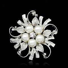 女性 ブローチ 人造真珠 合金 ファッション シルバー ジュエリー パーティー 誕生日 日常 カジュアル