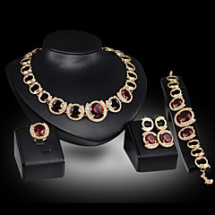 Lucky Doll Women's Vintage Crystal 18K Gold Plated Zirconia Drop Necklace & Earrings & Bracelet & Ring Jewelry Sets