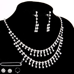 Wedding/Party Jewelry Sets Crystal Chain Necklace  Ring Bracelet Drop Earrings Sets with 2 Pairs of Rhinestone Earrings