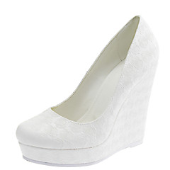 Women's Shoes Customized Materials Spring / Summer / Fall / Winter Round Toe Wedding / Dress Wedge Heel Others White