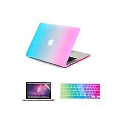 """3 en 1 arc en ciel coloré caoutchouté cas couverture rigide + couvercle du clavier + protecteur d'écran pour MacBook Air 11 """"/ 13"""""""
