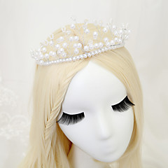 Vrouwen / Bloemenmeisje Kristallen / Licht Metaal / Imitatie Parel Helm-Bruiloft / Speciale gelegenheden Tiara's 1 Stuk Wit Rond