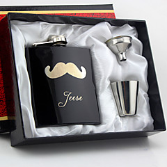 Gift Groomsman Personalized 4 Pieces Black Stainless Steel 6-oz Flask Gift Set