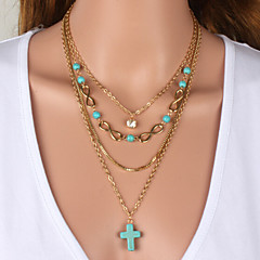 Lucky 8 word turquoise jewelry cross layer
