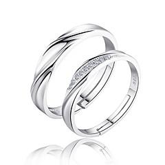 Páros gyűrűk Karikagyűrűk Szerelem Menyasszonyi Ezüst Cirkonium Circle Shape Ezüst Ékszerek Mert Esküvő Parti Napi 2pcs