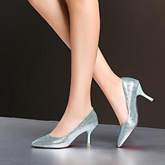 Women's Shoes Leatherette Stiletto Heel Heels Heels Wedding / Office & Career / Dress Blue / Silver / Gold