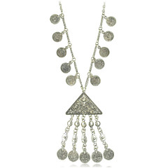 Geometry Coins and Tassel Pendant Necklace for Woman Jewelry