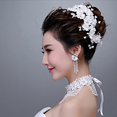Women's / Flower Girl's Lace Headpiece - Wedding / Special Occasion Headbands / Flowers with Tiny Pearls